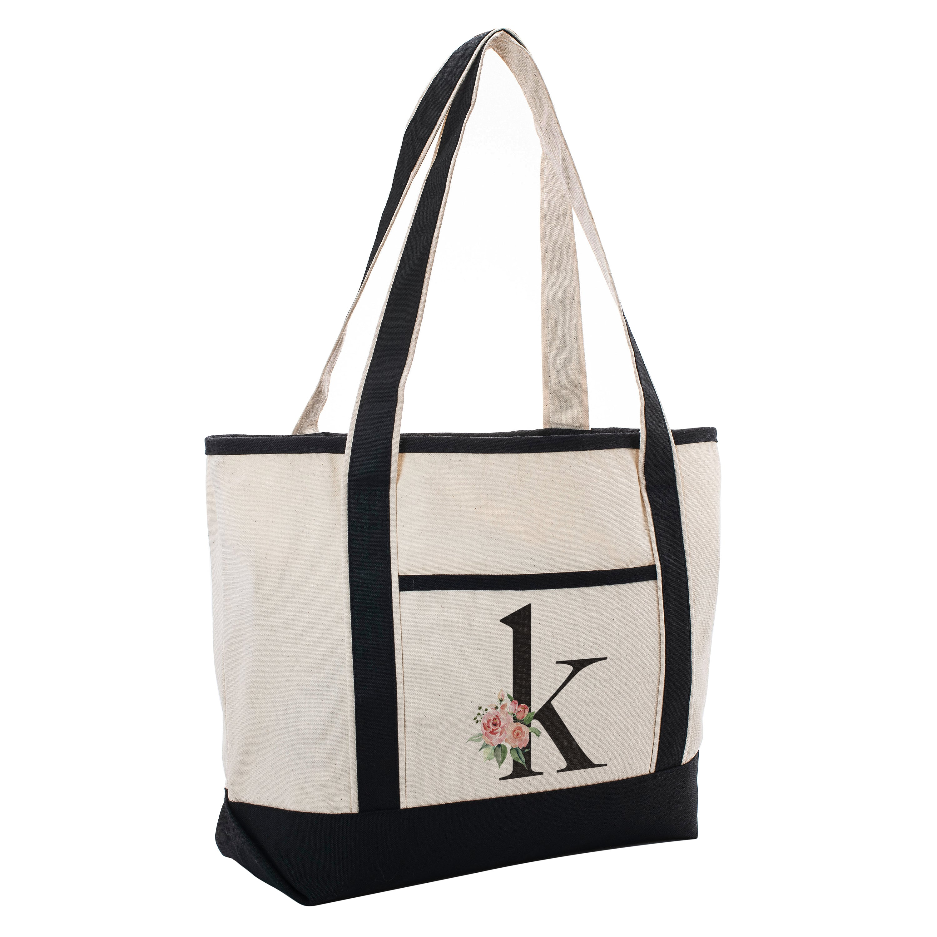 with Pocket I Design 7 Grocery Vacation Beach Bachelor and etc Pilates Yoga Floral Luxury Cotton Canvas Tote Bag for Daily