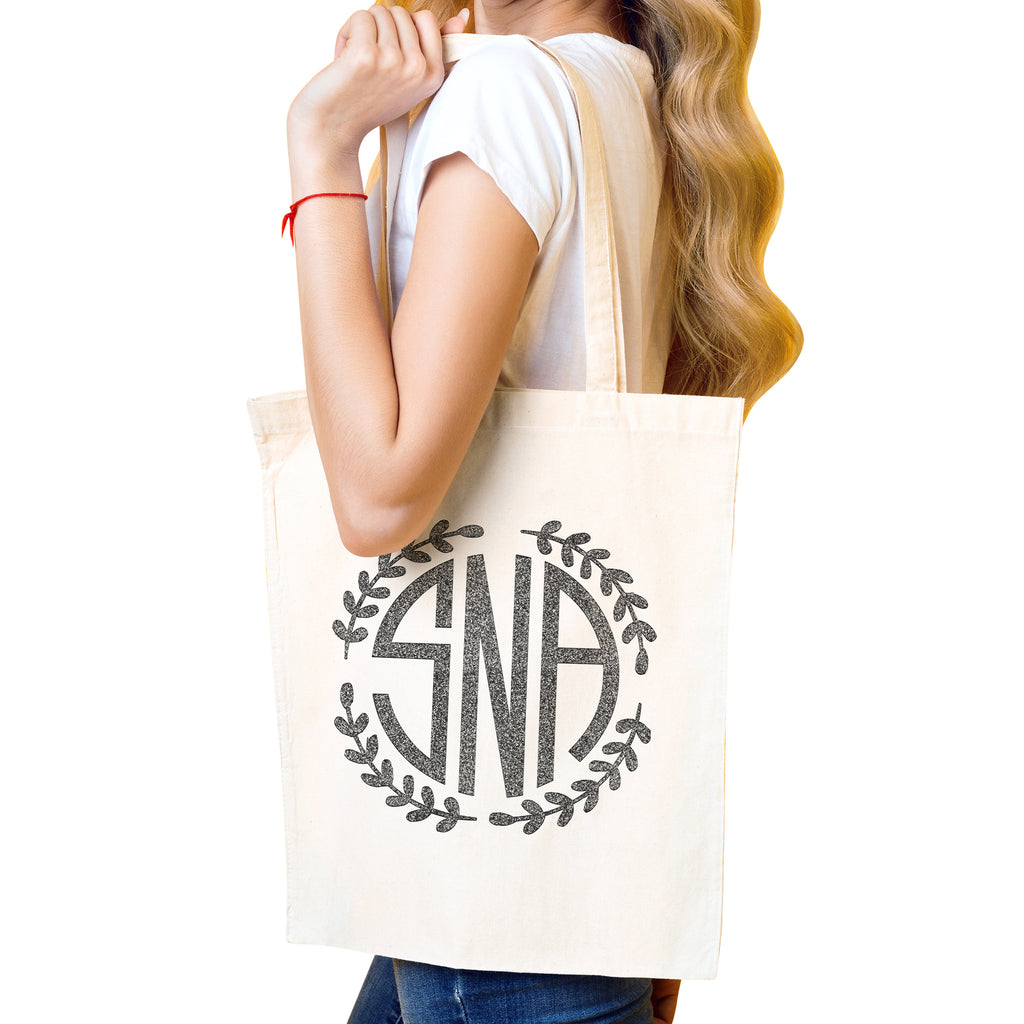 Personalized Monogram Natural Tote Bag | Initial Long Handle Totes for Beach, Yoga, Gym, Workout, Pilates |Customized Baby Shower, Christmas, Bridal Gift Bags | Bachelorette Party and Events Gifts Bag