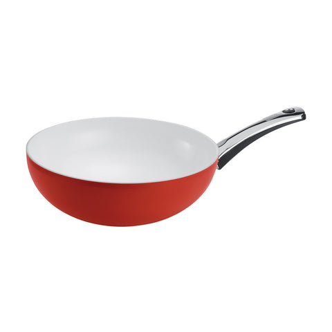 079609 Berndes Pearl Wok 11.5 Inch with Red Exterior