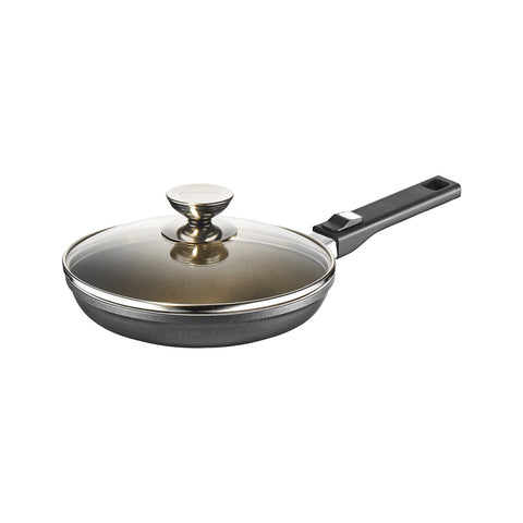 631513L Vario Click Induction Plus Black exterior Frying Pan with Glass Lid