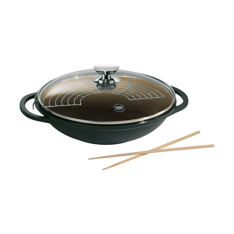 631539 Vario Click Induction Plus Black Wok with Glass Lid and pair of chopsticks