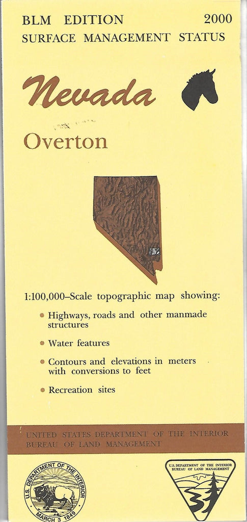 Nevada: Overton : 1:100,000-scale topographic map : 30 X 60 minute Surface management status series - Wide World Maps & MORE! - Map - Wide World Maps & MORE! - Wide World Maps & MORE!