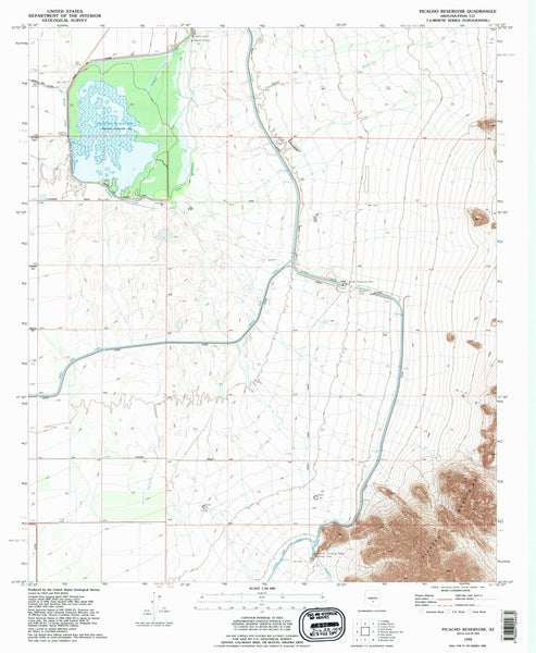 us topo - PICACHO RESERVOIR, Arizona (7.5'×7.5' Topographic Quadrangle) - Wide World Maps & MORE! - Map - Wide World Maps & MORE! - Wide World Maps & MORE!
