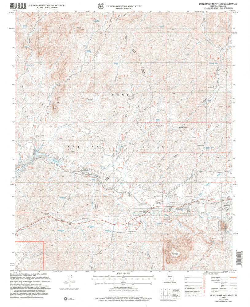 Picketpost Mountain, Arizona (7.5'×7.5' Topographic Quadrangle)