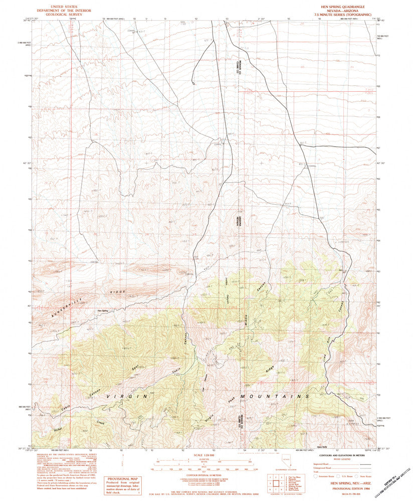 us topo - HEN SPRING, NV-AZ 7.5' - Wide World Maps & MORE! - Map - Wide World Maps & MORE! - Wide World Maps & MORE!