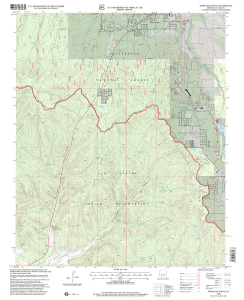 SHOW LOW SOUTH, AZ (7.5'×7.5' Topographic Quadrangle) - Wide World Maps & MORE! - Map - Wide World Maps & MORE! - Wide World Maps & MORE!
