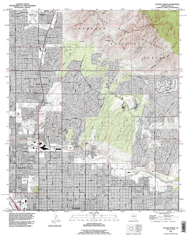 TUCSON NORTH, Arizona 7.5' - Wide World Maps & MORE! - Map - Wide World Maps & MORE! - Wide World Maps & MORE!
