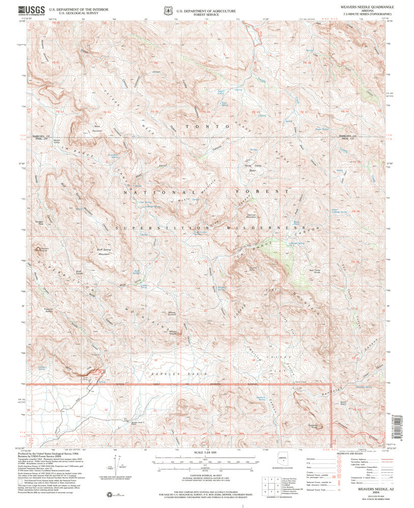 us topo - Weavers Needle, AZ (7.5'×7.5' Topographic Quadrangle) - Wide World Maps & MORE! - Map - Wide World Maps & MORE! - Wide World Maps & MORE!