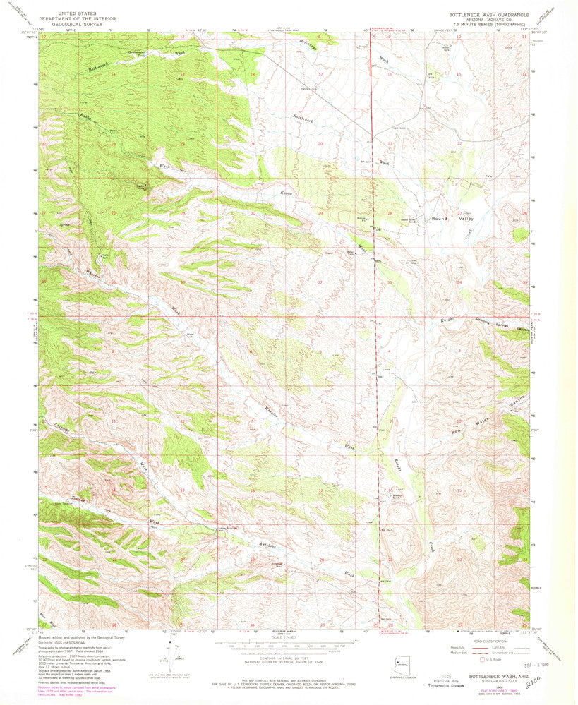 BOTTLENECK WASH, Arizona (7.5'×7.5' Topographic Quadrangle) - Wide World Maps & MORE! - Map - Wide World Maps & MORE! - Wide World Maps & MORE!