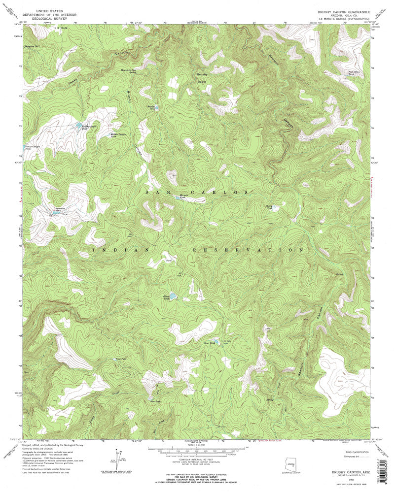 BRUSHY CANYON, Arizona 7.5' - Wide World Maps & MORE! - Map - Wide World Maps & MORE! - Wide World Maps & MORE!
