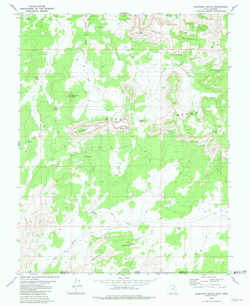 us topo - ELEPHANT BUTTE, UT-AZ 7.5' - Wide World Maps & MORE! - Map - Wide World Maps & MORE! - Wide World Maps & MORE!