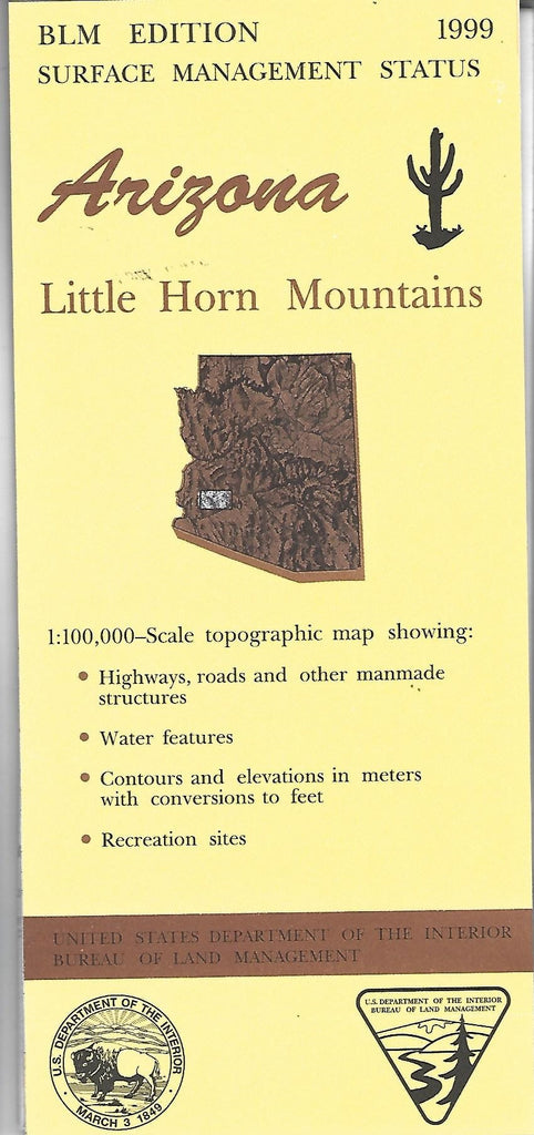 1999 Little Horn Mountains : 1:100,000-Scale Topographic Map : 60 × 30 Minute Surface Management Status (Arizona Series) - Wide World Maps & MORE!