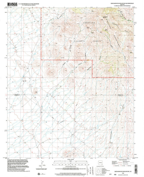 us topo - GREASEWOOD MOUNTAIN, Arizona 7.5' - Wide World Maps & MORE! - Map - Wide World Maps & MORE! - Wide World Maps & MORE!