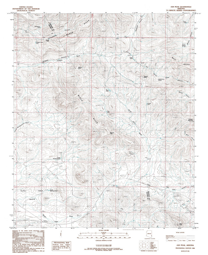 ASH PEAK, Arizona 7.5' - Wide World Maps & MORE!
