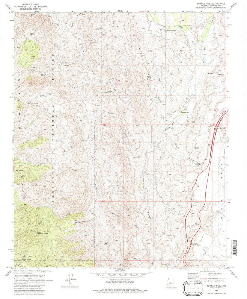 us topo - Bumble Bee, Arizona (7.5'×7.5' Topographic Quadrangle) - Wide World Maps & MORE! - Map - Wide World Maps & MORE! - Wide World Maps & MORE!