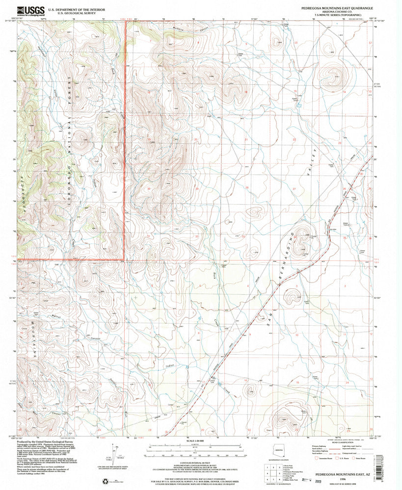 PEDREGOSA MTNS EAST, Arizona (7.5'×7.5' Topographic Quadrangle) - Wide World Maps & MORE!