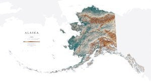 Alaska Topographic Wall Map by Raven Maps, Print on Paper (Non-Laminated)