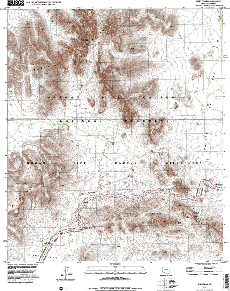 KINO PEAK, Arizona (7.5'×7.5' Topographic Quadrangle)