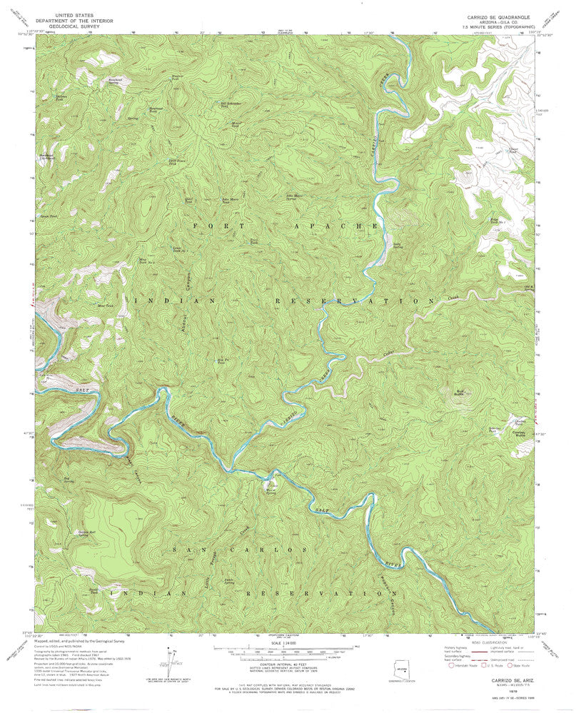 us topo - CARRIZO SE, Arizona 7.5' - Wide World Maps & MORE! - Map - Wide World Maps & MORE! - Wide World Maps & MORE!