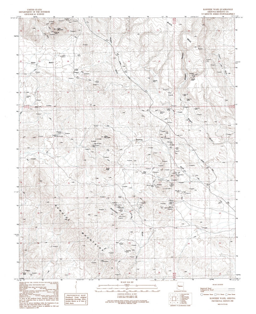 RAWHIDE WASH, Arizona 7.5' - Wide World Maps & MORE! - Map - Wide World Maps & MORE! - Wide World Maps & MORE!