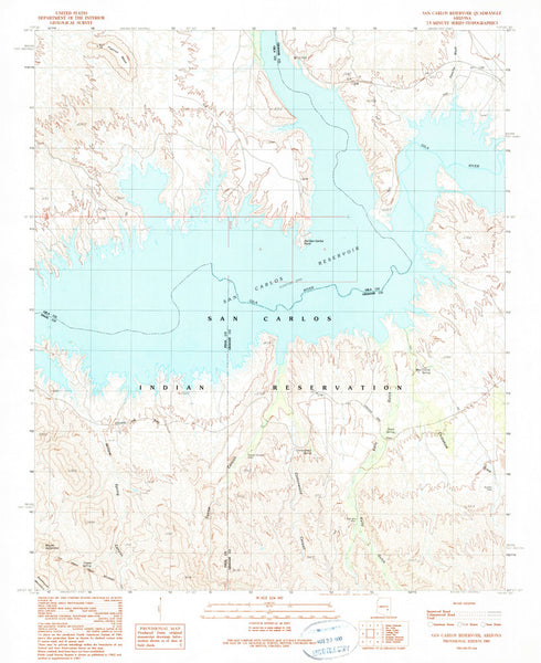 SAN CARLOS RESERVOIR, Arizona (7.5'×7.5' Topographic Quadrangle)