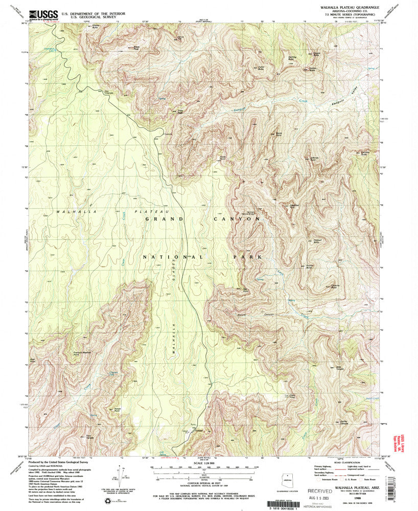 WALHALLA PLATEAU, Arizona (7.5'×7.5' Topographic Quadrangle) - Wide World Maps & MORE! - Map - Wide World Maps & MORE! - Wide World Maps & MORE!