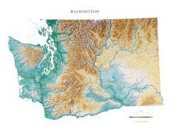 us topo - Raven Washington State Map Laminated - Wide World Maps & MORE! - Office Product - Raven Maps & Images - Wide World Maps & MORE!
