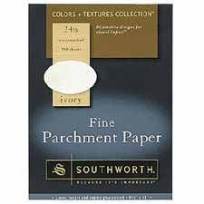 Southworth Color + Textures Collection™ Fine Parchment Paper, 8 1/2in. x 11in., 24 Lb., Ivory, Pack Of 80