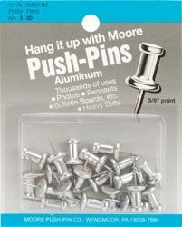 "Bulk Buy: Moore Push Pin Push Pins 3/8"" Point 20/Pkg Aluminum 3-20 (12-Pack)"