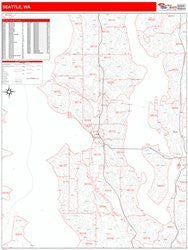 Seattle, WA Red Line Style All Streets & Highways Map