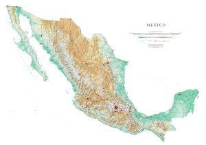Mexico Topographic Wall Map by Raven Maps, Print on Paper (Non-Laminated)