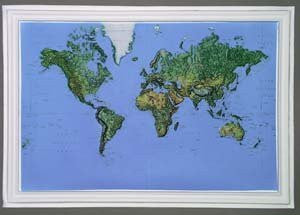 American Educational Products Raised Relief Map K-WO2316 World Small 23 Inch x 16 Inch