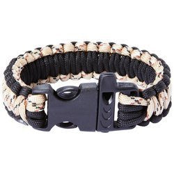 Maxam 9 Desert Paracord Bracelet with Whistle Buckle, Camo/Black