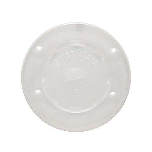 SOLO L10BLN-0100 Polystyrene Flat Lid for Cold Cup, Straw Slots, Identification Buttons, Translucent (Case of 2,000)
