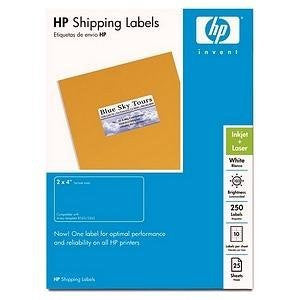 HP White Shipping Labels, 2 X 4, 250 Count, 25 Sheets