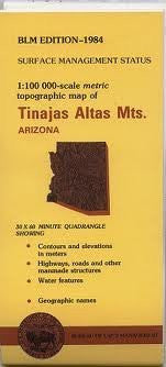 Tinajas Atlas Mountains Arizona 1:100,000 Scale Topo Mpa Surface Management BLM 30x60 Minute Quad
