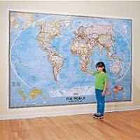 World Classic Political Atlantic-Centered Wall Mural Map Satin Laminated