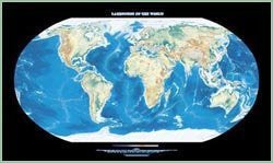 Landforms of the World Topographic Wall Map by Raven Maps, Print on Paper (Non-Laminated)