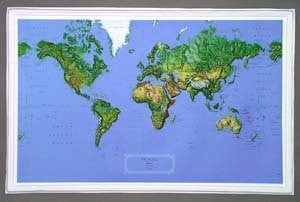 Hubbard Scientific Raised Relief Map K-WO3422 World NCR 34 Inch x 22 Inch