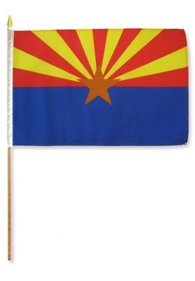 "Arizona State 12""x18"" Stick Flag - Wide World Maps & MORE! - Lawn & Patio - RFCO - Wide World Maps & MORE!"