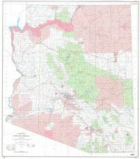 State of Arizona Base Map with Highways Gloss Laminated Ready-to-Hang