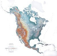 North America Topographic Wall Map by Raven Maps, Laminated Print
