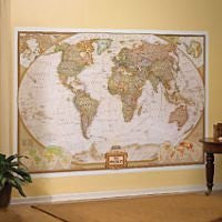 World Executive Political Atlantic-Centered Wall Mural Map Satin Laminated