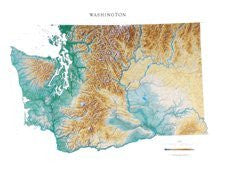 Washington Topographic Wall Map by Raven Maps, Laminated Print