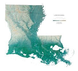 Louisiana Map Laminated