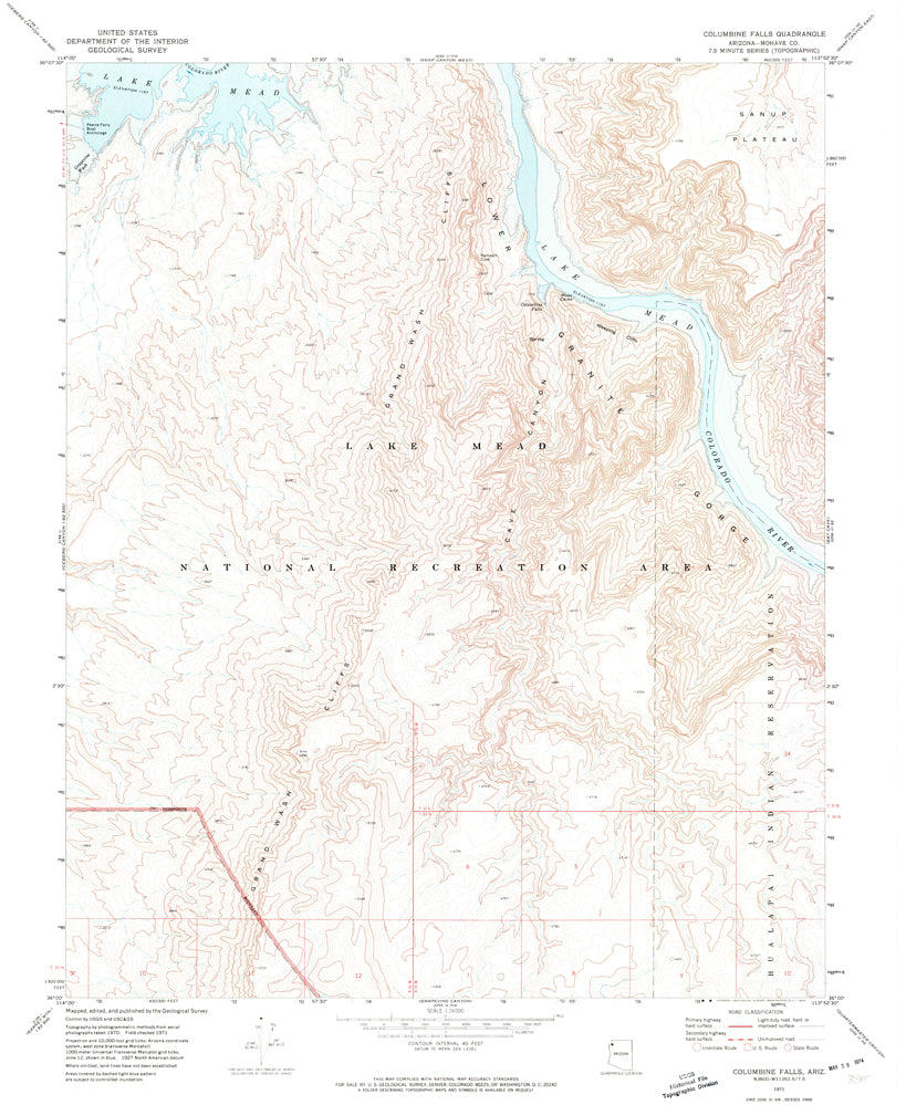 COLUMBINE FALLS, Arizona (7.5'×7.5' Topographic Quadrangle)