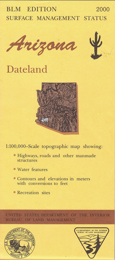 us topo - Arizona: Dateland : 1:100,000-scale topographic map: 30×60 minute series (Surface management status) - Wide World Maps & MORE! - Map - Wide World Maps & MORE! - Wide World Maps & MORE!