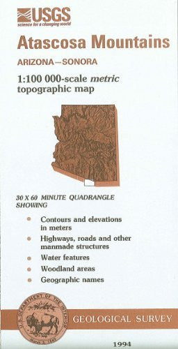 us topo - Atascosa Mountains, Arizona--Sonora : 1:100 000-scale metric topographic map : 30 x 60 minute series (topographic) (SuDoc I 19.110:31111-A 1-TM-100/994) - Wide World Maps & MORE! - Book - Wide World Maps & MORE! - Wide World Maps & MORE!