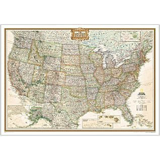 United States of America Executive Political Enlarged Wall Map Dry Erase Ready-to-Hang - Wide World Maps & MORE! - Map - National Geographic Maps - Wide World Maps & MORE!