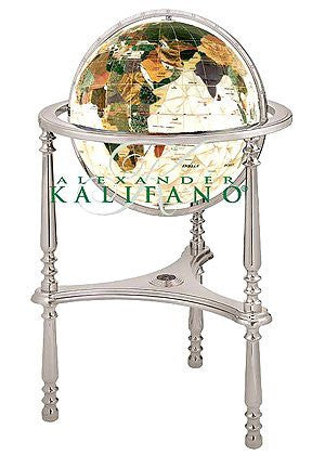 "us topo - 13"" Diamond Mother of Pearl Ambassador 3-Leg Silver High Stand (White Ocean) - Wide World Maps & MORE! - Office Product - kalifano - Gemstone Globe - Wide World Maps & MORE!"